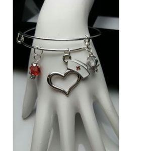 Jewelry - Nurse Medical Adjustable Charm Bracelet Heart Red